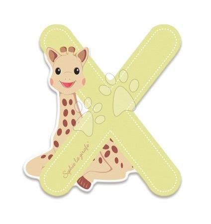 Dřevěné písmeno X Sophie The Giraffe Janod lepící 7 cm béžové od 3 let