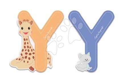 Dřevěné písmeno Y Sophie The Giraffe Janod lepící 7 cm modré/oranžové od 3 let