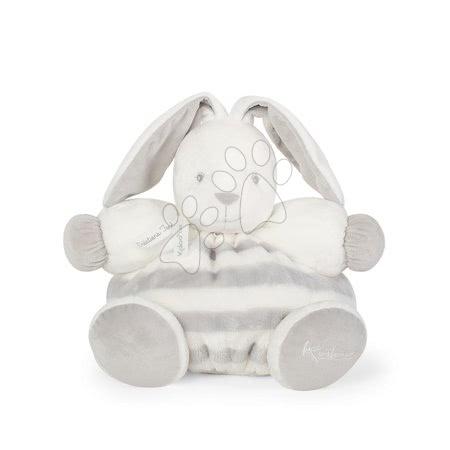 Plyšový zajačik s hrkálkou BeBe Pastel Chubby Kaloo 30 cm pre najmenšie deti v darčekovom balení šedo-krémový