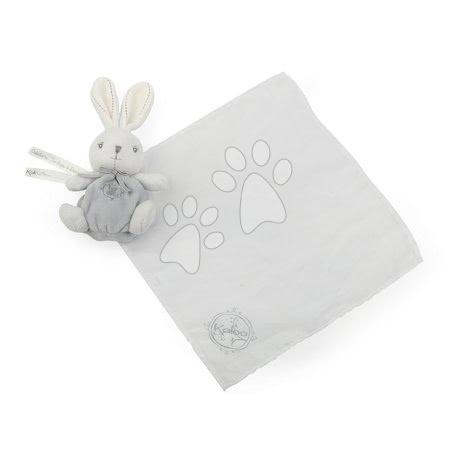 Plyšový zajačik na maznanie Perle Kaloo s jemnou handričkou 40 cm v darčekovom balení šedo-biely