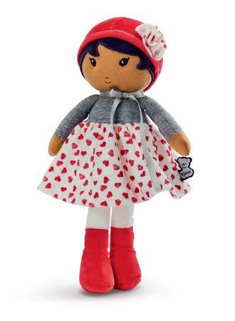 Hadrové panenky - Panenka pro miminka Jade K Tendresse Kaloo 32 cm v srdíčkovým šatech z jemného textilu v dárkovém balení od 0 měsíců