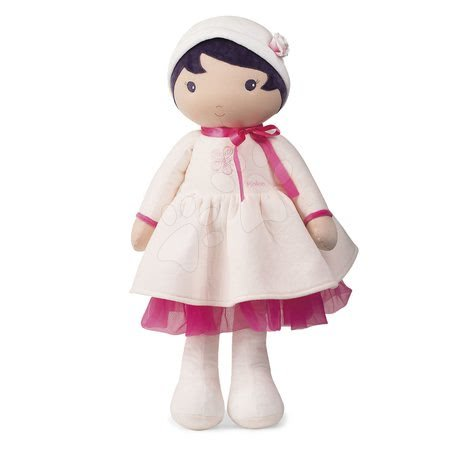 Rongybaba csecsemőknek Perle K Tendresse doll XXL Kaloo 80 cm fehér ruhácskában lágy textilből 0 hó-tól