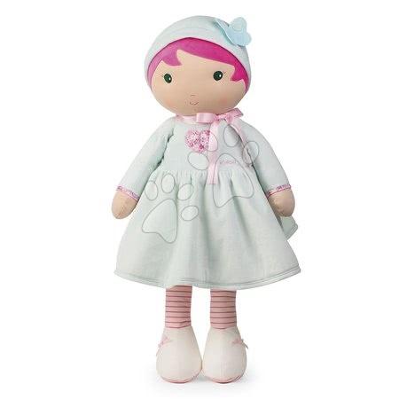 Rongybaba csecsemőknek Perle K Tendresse doll XXL Kaloo 80 cm szivecskés ruhácskában lágy textilből