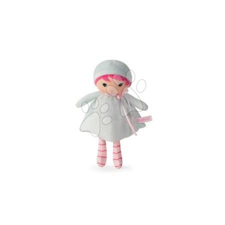 Păpuşă pentru bebeluşi Azure K Tendresse Kaloo 18 cm în hăinuţă cu inimioare din textil fin în ambalaj de cadou