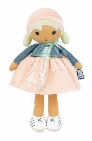 Hadrové panenky - Panenka pro miminka Chloe K Doll Tendresse Kaloo 32 cm v riflovém kabátku z jemného textilu v dárkovém balení od 0 měsíců