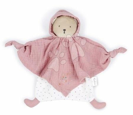 Hračky do postieľky  - Textilný medveď ružový Organic Cotton Doudou Bear Pink Kaloo na maznanie do postieľky 20 cm v darčekovom balení od 0 mes