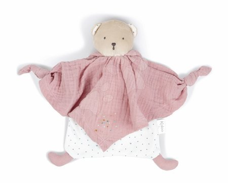 Hračky do postieľky  - Textilný medveď ružový Organic Cotton Doudou Bear Pink Kaloo na maznanie do postieľky 20 cm v darčekovom balení od 0 mes_1