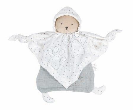 Hračky do postieľky  - Textilný medveď šedý Organic Cotton Doudou Bear Grey Kaloo na maznanie do postieľky 20 cm v darčekovom balení od 0 mes