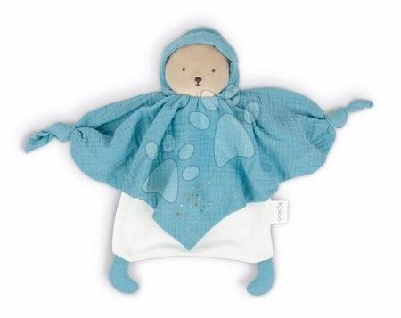 Hračky do postieľky  - Textilný medveď modrý Organic Cotton Doudou Bear Blue Kaloo na maznanie do postieľky 20 cm v darčekovom balení od 0 mes