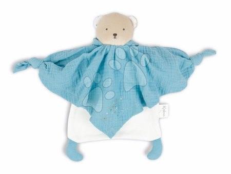 Hračky do postieľky  - Textilný medveď modrý Organic Cotton Doudou Bear Blue Kaloo na maznanie do postieľky 20 cm v darčekovom balení od 0 mes_1