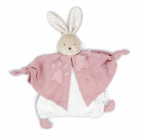 Hračky do postieľky  - Textilný zajačik ružový Organic Cotton Doudou Rabbit Pink Kaloo na maznanie do postieľky 20 cm v darčekovom balení od 0 mes