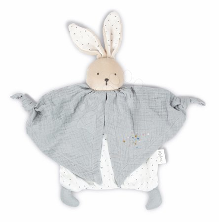 Hračky do postieľky  - Textilný zajačik šedý Organic Cotton Doudou Rabbit Grey Kaloo na maznanie do postieľky 20 cm v darčekovom balení od 0 mes