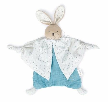 Hračky do postieľky  - Textilný zajačik modrý Organic Cotton Doudou Rabbit Blue Kaloo na maznanie do postieľky 20 cm v darčekovom balení od 0 mes