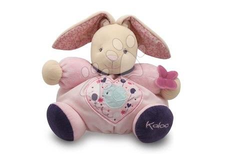 Plyšový králíček Petite Rose-Chubby Rabbit Birdie Kaloo s chrastítkem 30 cm v dárkovém balení pro nejmenší růžový