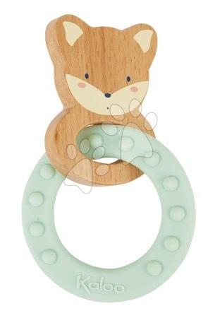 Chrastítka a kousátka - Kousátko s dřevěnou liškou My Fox Teething Ring Home Kaloo se silikonovým kroužkem 14 cm od 0 měsíců