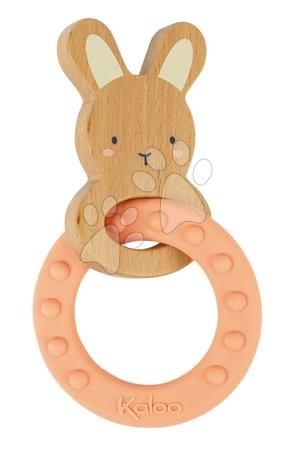 Chrastítka a kousátka - Kousátko s dřevěným zajíčkem My Rabbit Teething Ring Home Kaloo se silikonovým kroužkem 14 cm od 0 měsíců