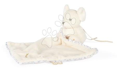 Hračky do postieľky  - Plyšová myška na maznanie Round Doudou Mouse Cream Perle Kaloo krémová 20 cm z jemného mäkkého materiálu od 0 mes