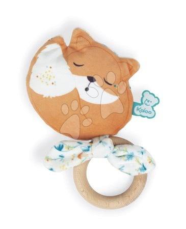 Chrastítka a kousátka - Kousátko liška s dřevěným kroužkem Leonard Fox Teether Fripons Kaloo s chrastítkem z jemného materiálu v dárkovém balení od 0 měs