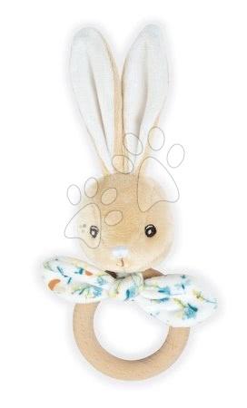Chrastítka a kousátka - Kousátko zajíc s dřevěným kroužkem Justin Rabbit Teether Fripons Kaloo s chrastítkem z jemného materiálu v dárkovém balení od 0 měsíců