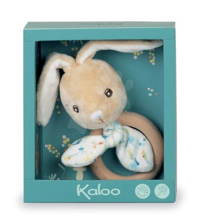 Chrastítka a kousátka - Kousátko zajíc s dřevěným kroužkem Justin Rabbit Teether Fripons Kaloo s chrastítkem z jemného materiálu v dárkovém balení od 0 měsíců_1