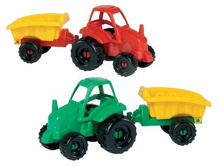 Traktor Picnic Écoiffier pótkocsival hossza 25 cm piros / zöld 18 hó-tól
