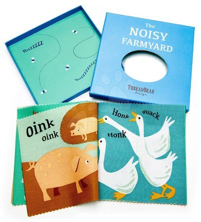 ThreadBear design - Carte textilă Noisy Farmyard Rag Book Threadbear cu 12 animale de companie din bumbac 100% fin 17*17 cm în ambalaj cadou