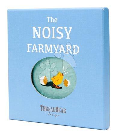 ThreadBear design - Carte textilă Noisy Farmyard Rag Book Threadbear cu 12 animale de companie din bumbac 100% fin 17*17 cm în ambalaj cadou_1