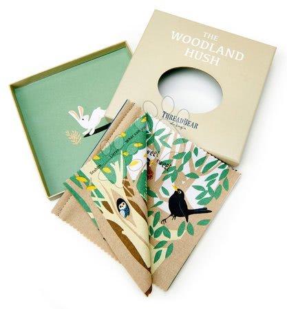 ThreadBear design - Carte textilă Woodland Hush Rag Book Threadbear cu 12 animale din pădure din bumbac 100% fin 17*17 cm în ambalaj cadou