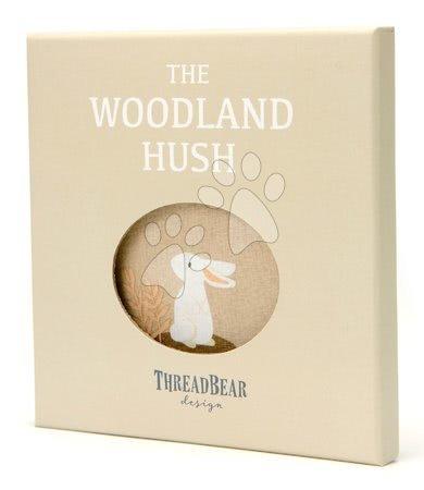 ThreadBear design - Carte textilă Woodland Hush Rag Book Threadbear cu 12 animale din pădure din bumbac 100% fin 17*17 cm în ambalaj cadou_1