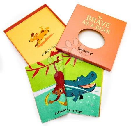 ThreadBear design - Carte textilă Brave as a Bear Rag Book Threadbear cu 12 animale sălbatice din bumbac 100% fin 17*17 cm în ambalaj cadou