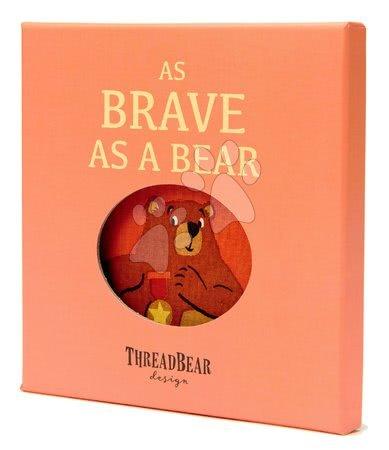 ThreadBear design - Carte textilă Brave as a Bear Rag Book Threadbear cu 12 animale sălbatice din bumbac 100% fin 17*17 cm în ambalaj cadou_1