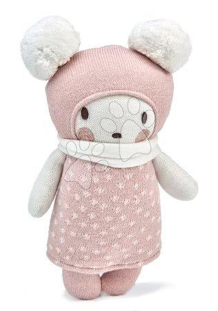 Kötött játékbaba rózsaszín Baby Baba Knitted Doll Threadbear 24 cm puha pamutból ajándékcsomagolásban 0 hó-tól