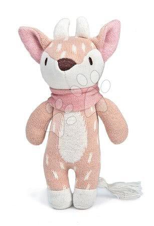 ThreadBear design - Păpușă cerb tricotat Fearne Deer Knitted Baby Doll Threadbear 18 cm din bumbac fin și moale cu etichetă cadou de la 0 luni