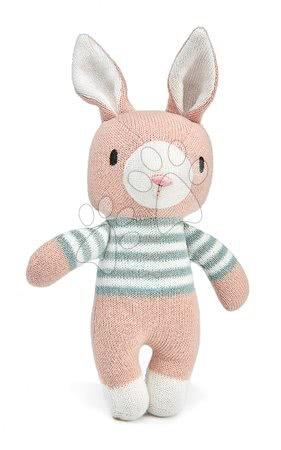 ThreadBear design - Păpușă iepuraș tricotat Finbar Hare Knitted Baby Doll Threadbear 18 cm din bumbac fin și moale cu etichetă cadou de la 0 luni