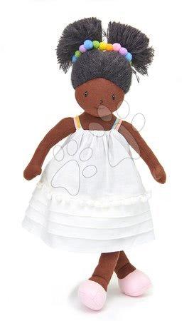ThreadBear design - Păpușă de cârpă Esme Rag Doll Threadbear din bumbac moale tricotat cu păr negru în cutie cadou de la 0 luni