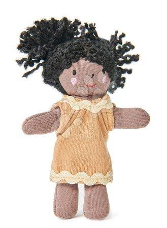 ThreadBear design - Păpușă de cârpă Mini Gigi Doll Threadbear din bumbac moale tricotat cu păr negru în cutie cadou de la 0 luni