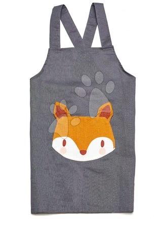 ThreadBear design - Șorț pentru copii Vulpița Fox Linen Cotton Apron Threadbear din bumbac moale gri de la 3-8 ani
