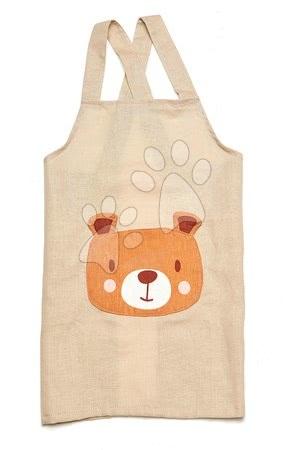 ThreadBear design - Șorț pentru copii Ursul Bear Linen Cotton Apron Threadbear din bumbac moale bej de la 3-8 ani