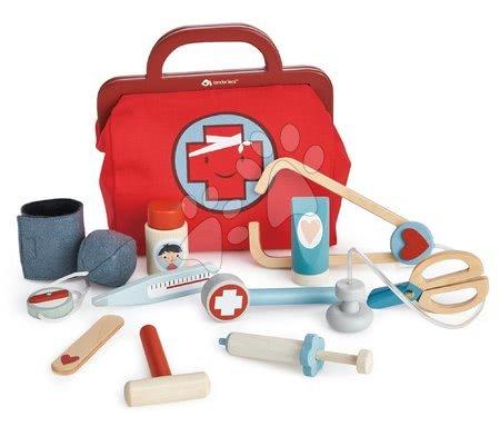 Valiză medicală din lemn Doctor's Bag Tender Leaf Toys cu dispozitive medicale mască și plasturi 25*16*24 cm TL8114
