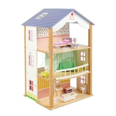 Drevený domček pre bábiku Bluebird Villa Tender Leaf Toys 15 dielov, otvorený štýl s kompletným vybavením