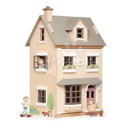 Drevený mestský domček pre bábiku Foxtail Villa Tender Leaf Toys 12 dielov, vybavený s nábytkom, výška 71 cm