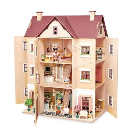 Casă de păpușă din lemn Fantail Hall Tender Leaf Toys cu 3 etaje, terasă, plante și bancă
