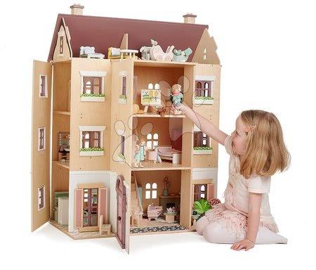 Drevený domček pre bábiku Fantail Hall Tender Leaf Toys 3 poschodový s terasami s rastlinami a lavičkou