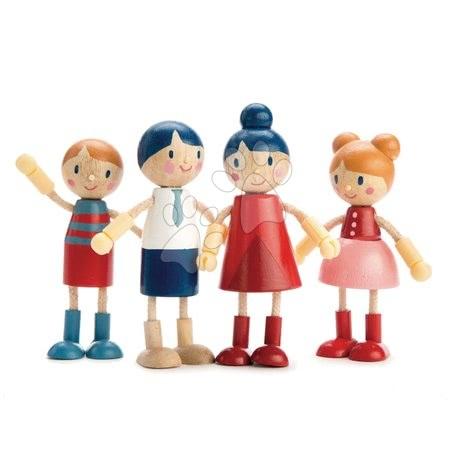 Dřevěná rodina 4 postavičky Doll Family Tender Leaf Toys s pohyblivýma rukama a nohama