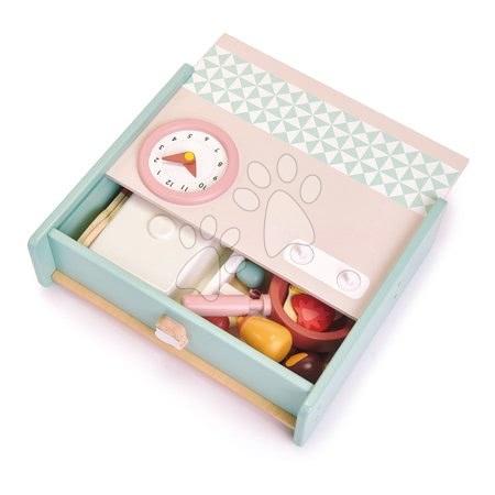 Drevené kuchynky - Drevená kuchynka v šuflíku Kitchenette Tender Leaf Toys s hodinami panvicou a potravinami_1