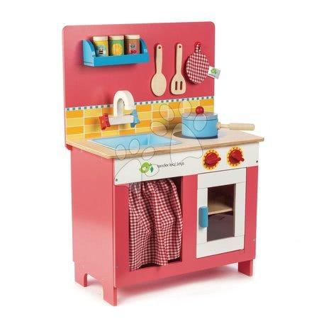 Fa játékkonyha Cherry Pie Tender Leaf Toys Creative Play 9 darabos készlet tűzhellyel, mosogatótálcával és kiegészítőkkel