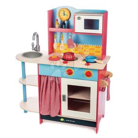 Dřevěná kuchyňka Grand Kitchen Tender Leaf Toys 10 doplňků s mikrovlnkou a hodinami