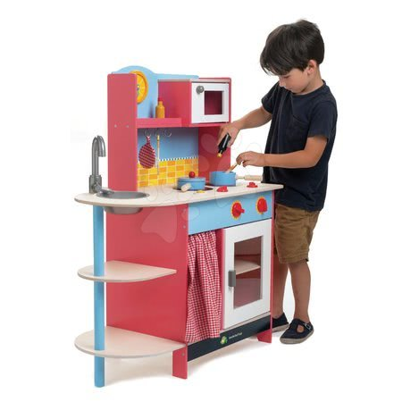 Drevené kuchynky - Drevená kuchynka Grand Kitchen Tender Leaf Toys 10 doplnkov s mikrovlnkou a hodinami_1