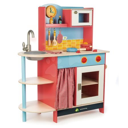 Drevené kuchynky - Drevená kuchynka Grand Kitchen Tender Leaf Toys 10 doplnkov s mikrovlnkou a hodinami