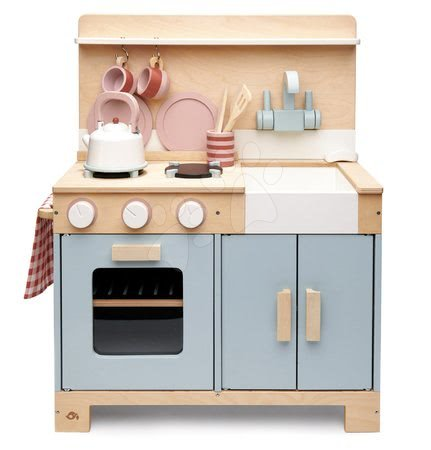 Lesena kuhinja s kruhom Home Kitchen Tender Leaf Toys s čajnikom, skodelicami in posodo